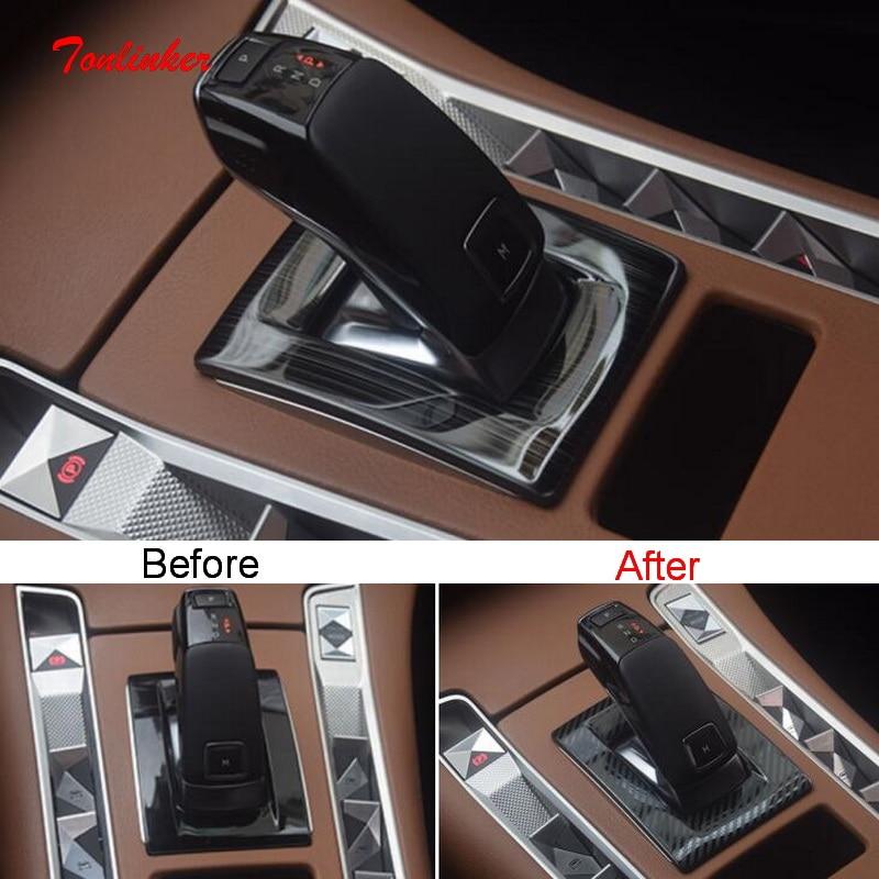 Tonlinker الداخلية سيارة والعتاد لوحة غطاء حالة ملصقات لسيتروين DS7 2018-19 سيارة التصميم 1 قطعة الفولاذ المقاوم للصدأ غطاء ملصقات
