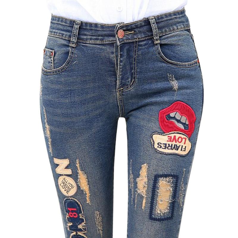2016 nouveau lèvre Denim pantalon déchiré trou élastique dames maigre crayon pantsbroderie lèvres lettre jean pantalon pour les femmes