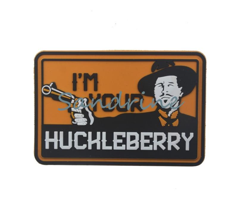 Parches tácticos de goma de PVC para ropa con emblema y apliques, Modelo im your huckleberry Military Army
