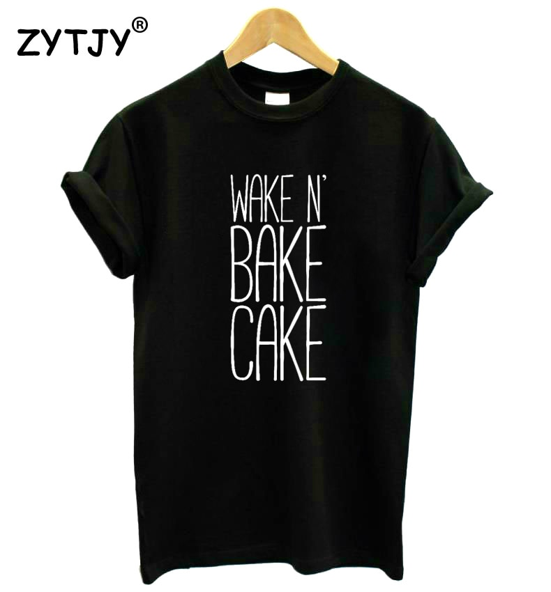 Wake N Bake pastel letras impresas mujeres camiseta Casual algodón Hipster divertida camiseta para chica señora Top Drop Ship BA-388
