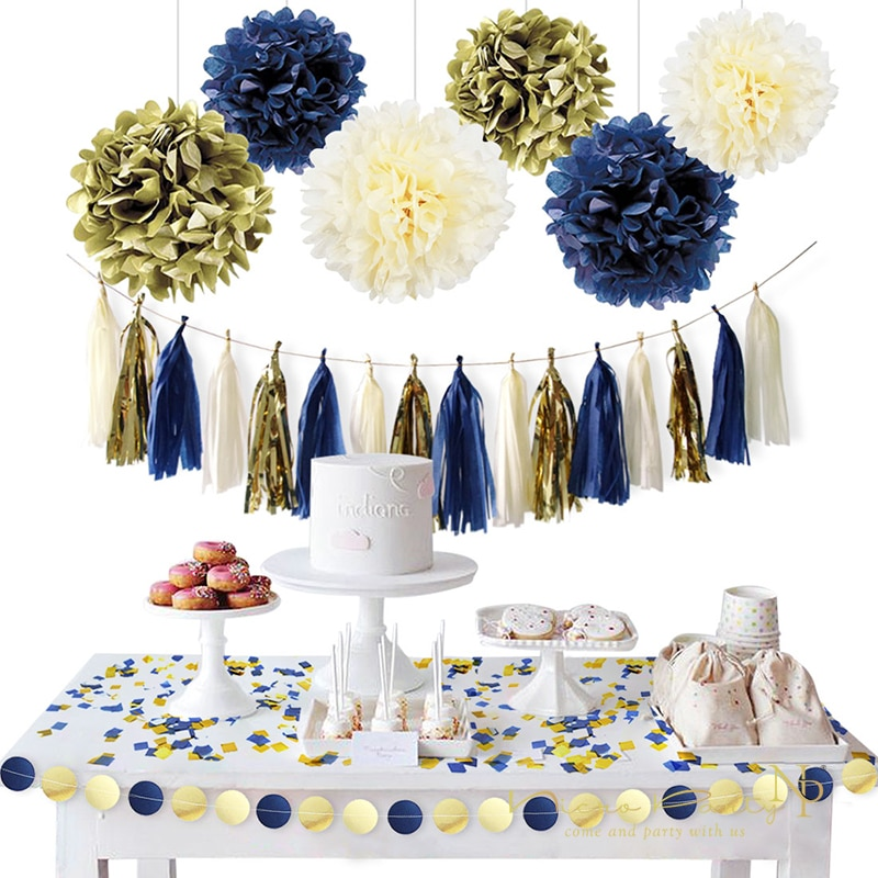 Nicro 11Pcs/Set Gold Dark Blue Paper Flower Tassel Garland Confetti DIY Party Guirlande Fiesta Decoracion Dorado Epiphany #Set07