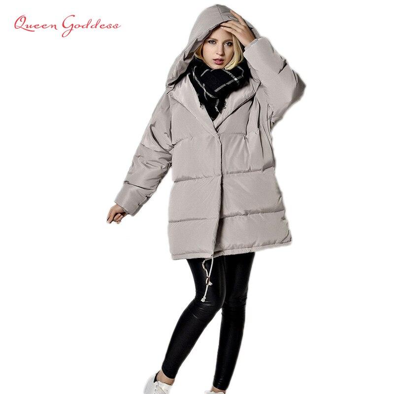 Зимняя парка на белом утином пуху, Европейский и американский стиль, толстая длинная куртка с капюшоном, стеганая куртка для женщин, 2020