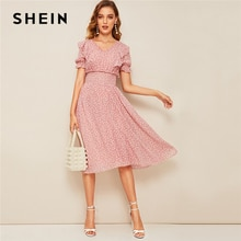 SHEIN Rosa Ruffle Trim Puff Sleeve Shirred cintura verano Boho vestido 2019 Fit and Flare vestido mujeres elegante imperio vestidos largos
