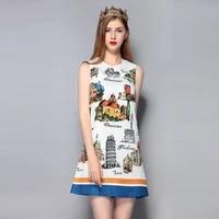 new fashion designer womens spring summer high quality dress amazing architectural castle elegant sleeveless white ladies dress