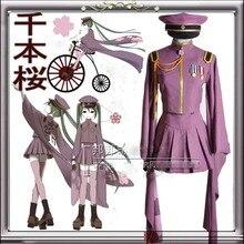 Vocaloid MIKU SenbonZakura Cosplay Costume Vocaloid uniforme sur mesure ensemble complet (haut + jupe + bonnet + chaussettes + gants)