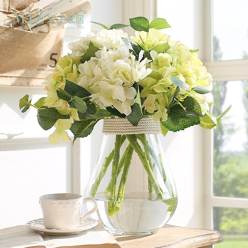 Miz 1 Set Transparent Glass Vase Hydrangea Flower Set Tabletop Vase for Home