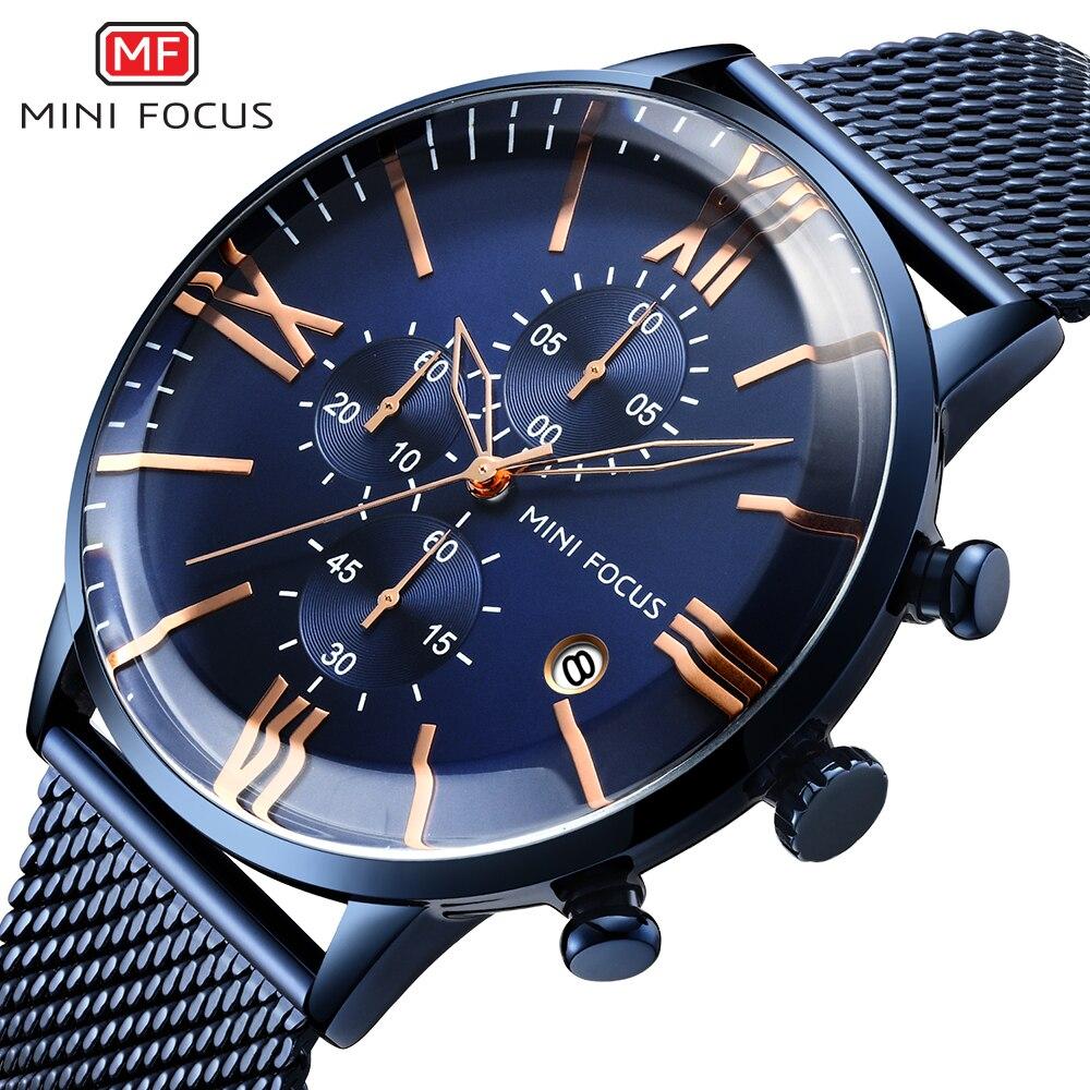 Relojes MINI FOCUS de lujo para Hombre, Reloj de pulsera de acero inoxidable para Hombre, Reloj de pulsera de cuarzo resistente al agua para Hombre, Reloj azul