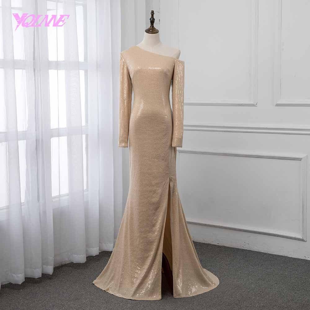 YQLNNE 2019 One Shoulder Long Sleeve Prom Dresses Formal Evening Gown Dress Champagne Sequins YQLNNE