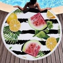 INS ananas pastèque imprimé 150 cm gland plage couverture pique-nique Camping tapis rond Sandbeach serviette nappe châle matelas