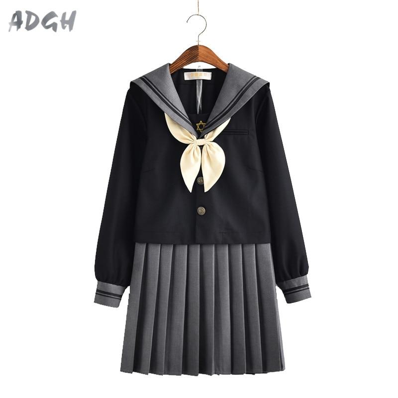JK/школьная форма с длинными рукавами для девочек; студенческий костюм; Студенческая форма для кампуса; женская школьная форма моряка в морс...