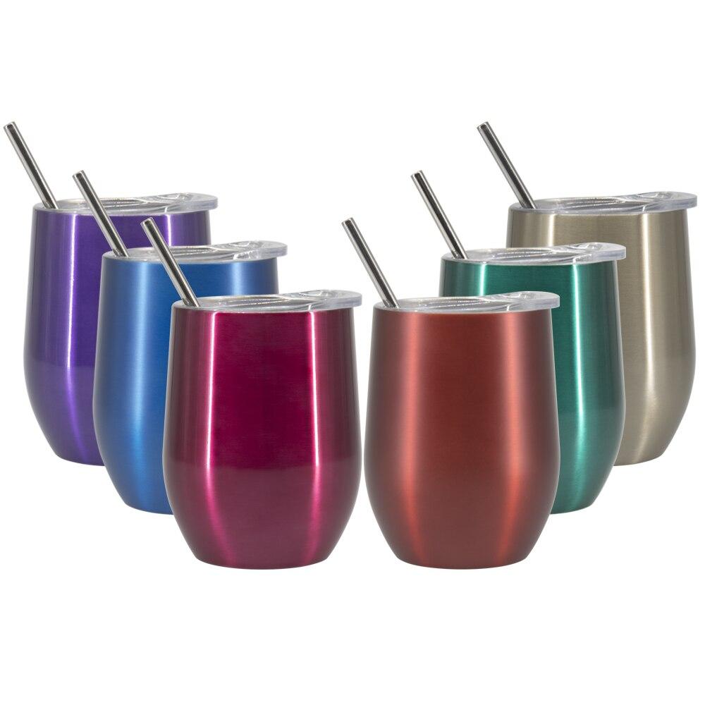 2 PCS 9 OZ Copos de Vinho Copo de Aço Inoxidável Com Isolamento A Vácuo Garrafa Térmica de Chá de Cerveja Canecas de Café Em Aço Inoxidável Tumber com palhas