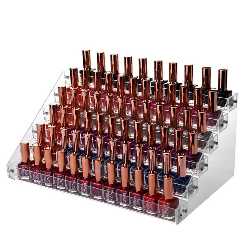 Mordoa 6 Tier Stand Clear Transparent Acrylic Nail Polish Salon Exhibition Wall Nail Polish mac Lipstick Rack Storage Shelf