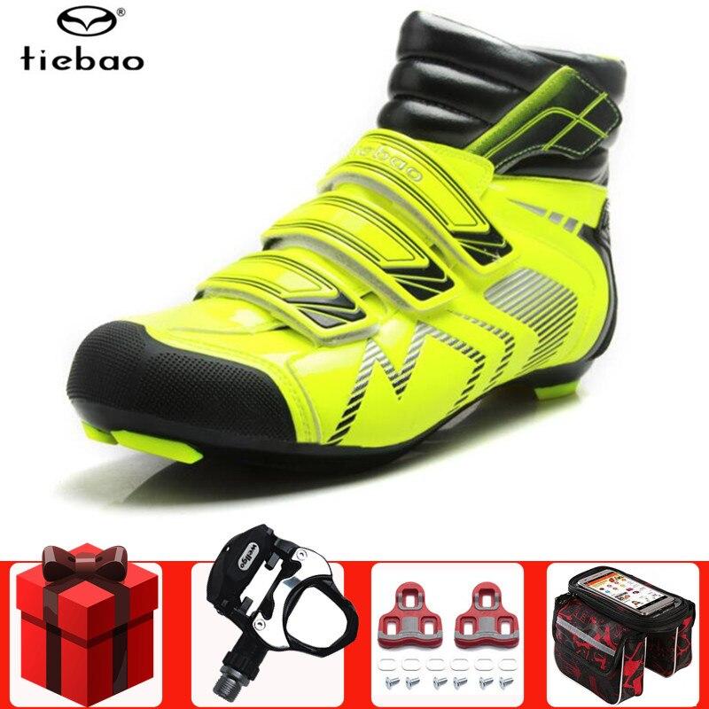 Tiebao inverno sapatos de ciclismo estrada adicionar pedal conjunto respirável ao ar livre atlético sapatos bicicleta corrida sapatos zapatos