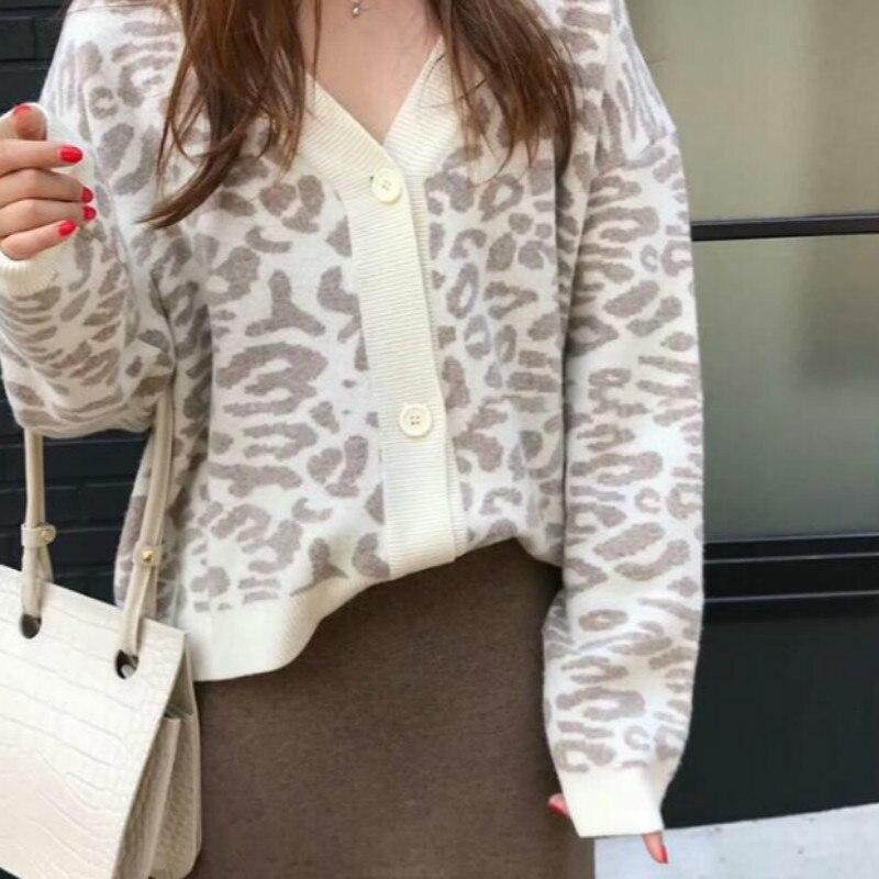 Mulheres outono inverno leopardo cardigan camisola casaco feminino manga longa plus size exterior malha topos puxar femme camisa sueter