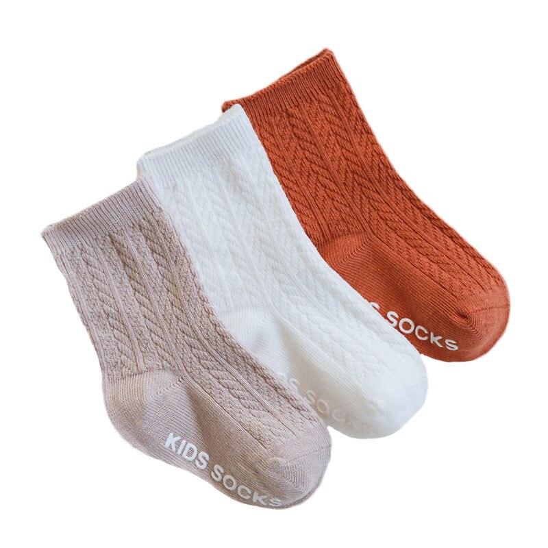 3 pares/lote crianças meias sólido listrado verão primavera menino anti deslizamento do bebê recém-nascido meias de algodão infantil para meninas