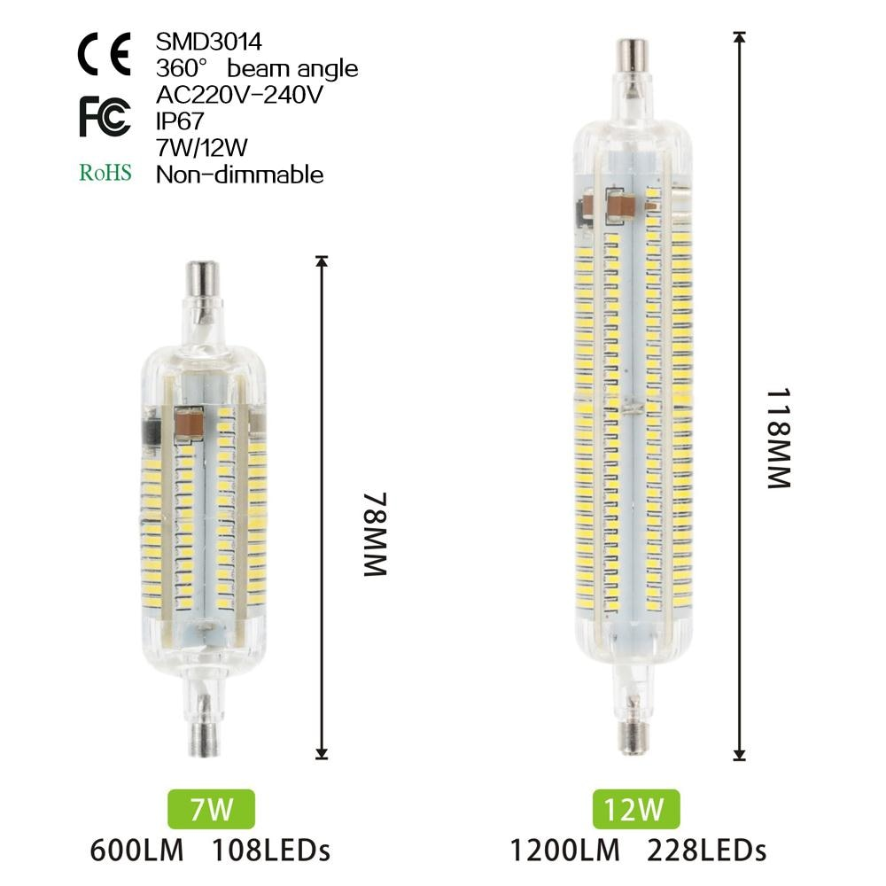 R7S Non-dimmable Corn Lamp Light 7W 12W 108 228 3014SMD 1250LM 360degree Warm White / Cool White Decorative Corn Bulbs AC220v hrsod 2x r7s 118mm 18w 228 x 3014smd 1650 lm 360 warm white cool white t decorative corn bulbs ac 220 240 v