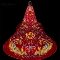 red embroidery trailing bride phoenix robes chinese bride wedding scarf vintage shawl clip pin womens winter shawls and wraps