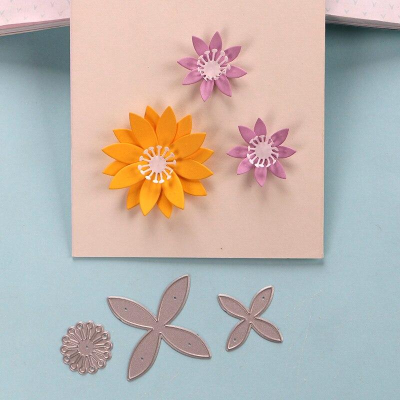 DUOFEN METAL CUTTING DIES 4 petal flowers 3pcs set for DIY papercraft projects Scrapbook Paper Album