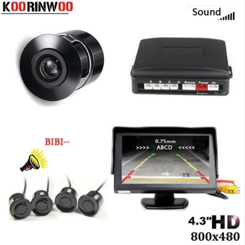 Koorinwoo Parkmaster 4 sensores zumbador, Sensor de aparcamiento para coches, Monitor de coche de 4,3 pulgadas, sistema de asistencia de cámara trasera de respaldo, negro