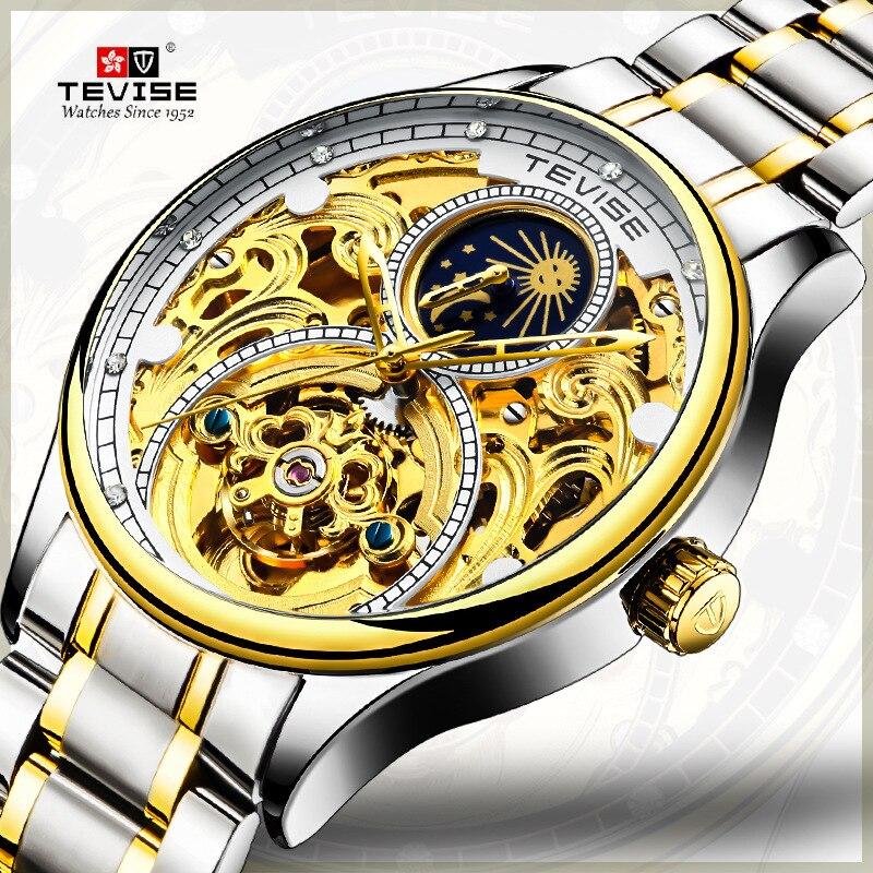 Tevise hombres Relojes Para hombre marca de lujo mecánico automático deporte Reloj hombres wirstwatch Tourbillon Reloj hombres 2019