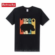 Drôle rétro heureux Hippo t-shirt jeunesse amoureux des animaux meilleurs cadeaux T-Shirts élégant Streetwear Hombre marque col rond coton t-shirt