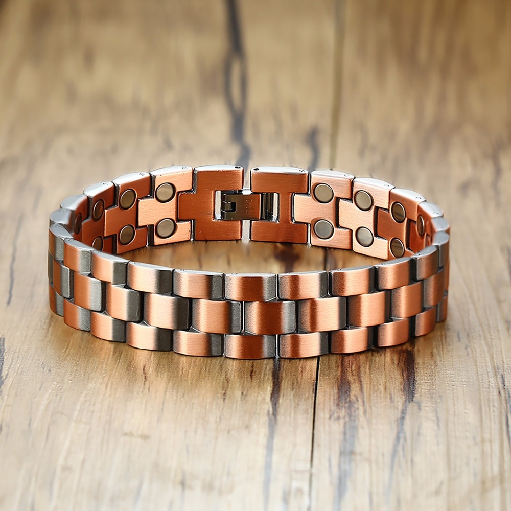 Vinterly Magnetic Copper Bracelet Men Vintage Wrist Band Magnetic Bracelet Men Hand Chain Health Energy Wide Bracelet for Men