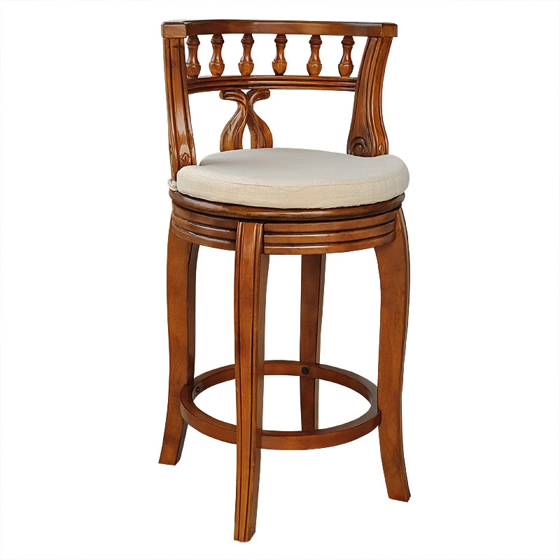 European Style Solid Wood Bar Chair American High Stool  Cushion Plate Rotating