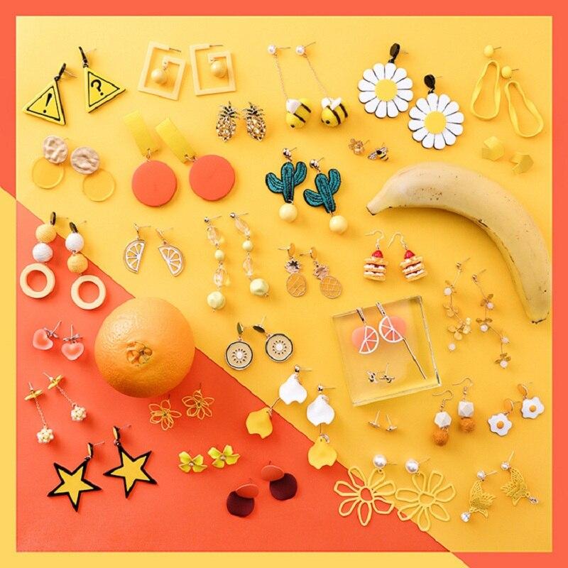 2019 Summer Korean Orange Yellow Fruit Tree Bee Long Dangle Acrylic Earrings Women Fashion Geometric Round Jewelry Accessories