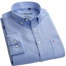 Oxford Stof Lange Mouwen Casual Shirts Voor Mannen Button Kraag Dikke Heren Kleding Regular Fit Leisure Plaid Shirt Gestreepte