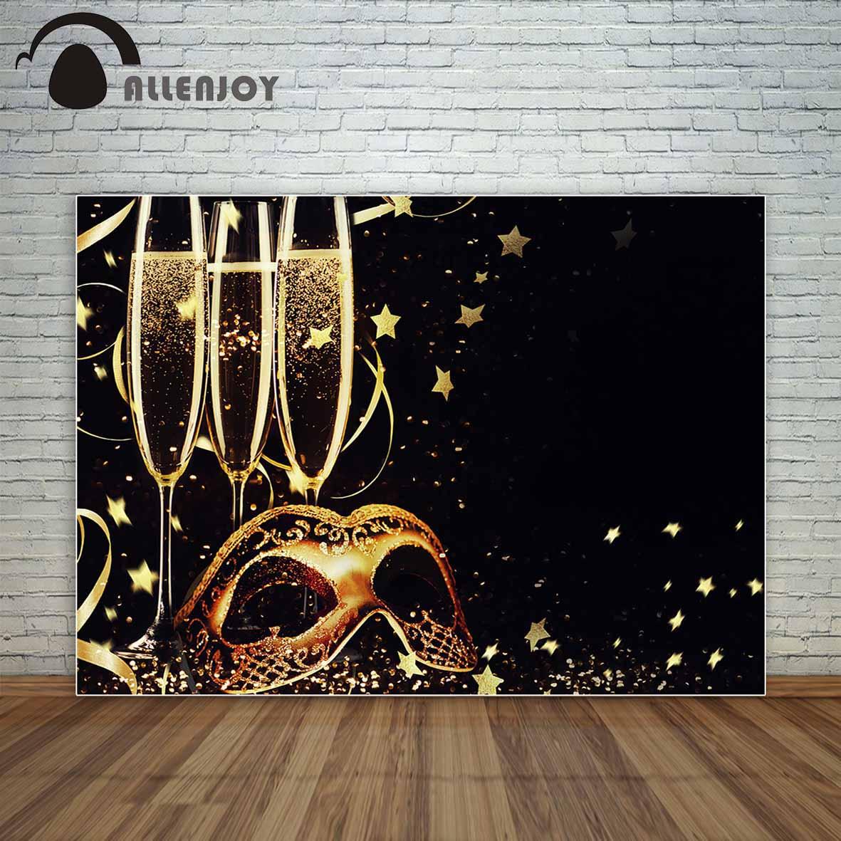 Allenjoy dorado y negro Mascarada y champán estrellas y cintas telón de fondo de vinilo nuevos fondos fotográficos