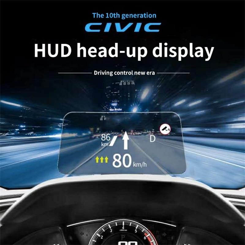 نظام عرض برأس علوي لسيارة هوندا سيفيك 10th HUD متعدد الوظائف خاص بالسيارات يستخدم خصوصًا إنذار من السرعة الزائدة
