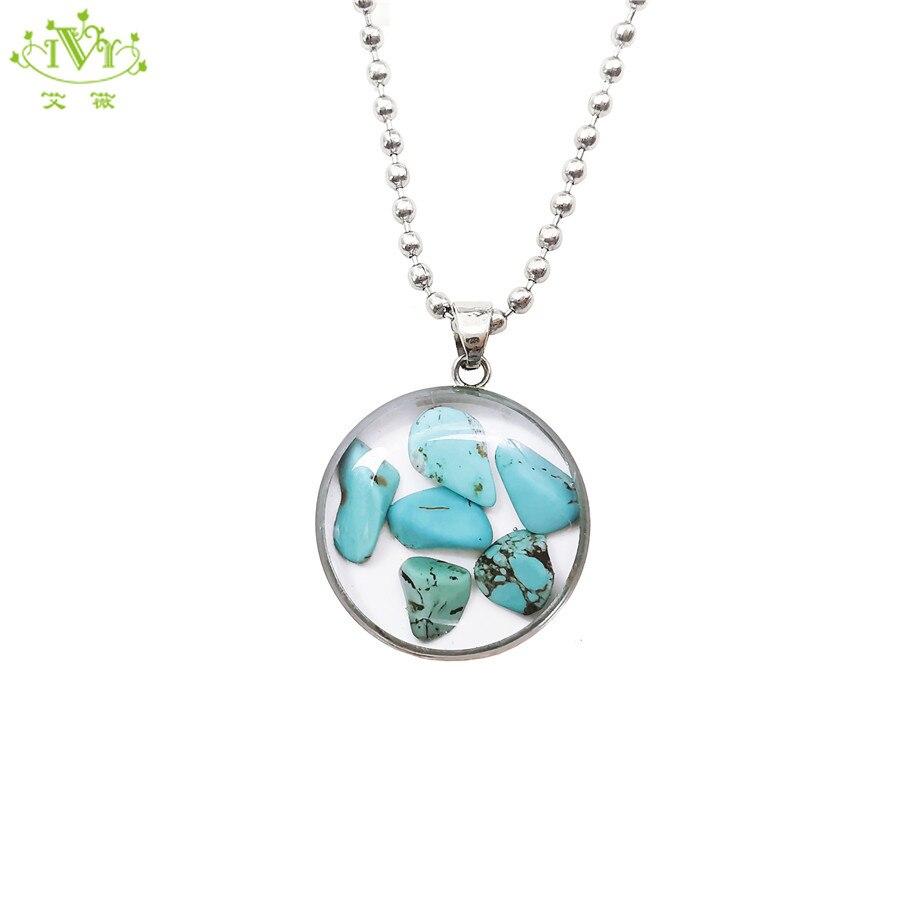 Nuevos Bohemios de cristal turquesa Cadenas colgantes de piedra Natural verde Collar para mujer joyería Boho gargantilla personalizado IVR