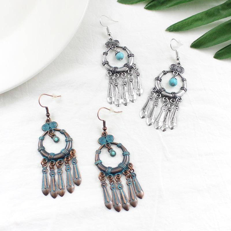 Vintage round spiral openwork engraving pattern Hanging blue natural stone String metal tassel pendant earrings Fashion charm