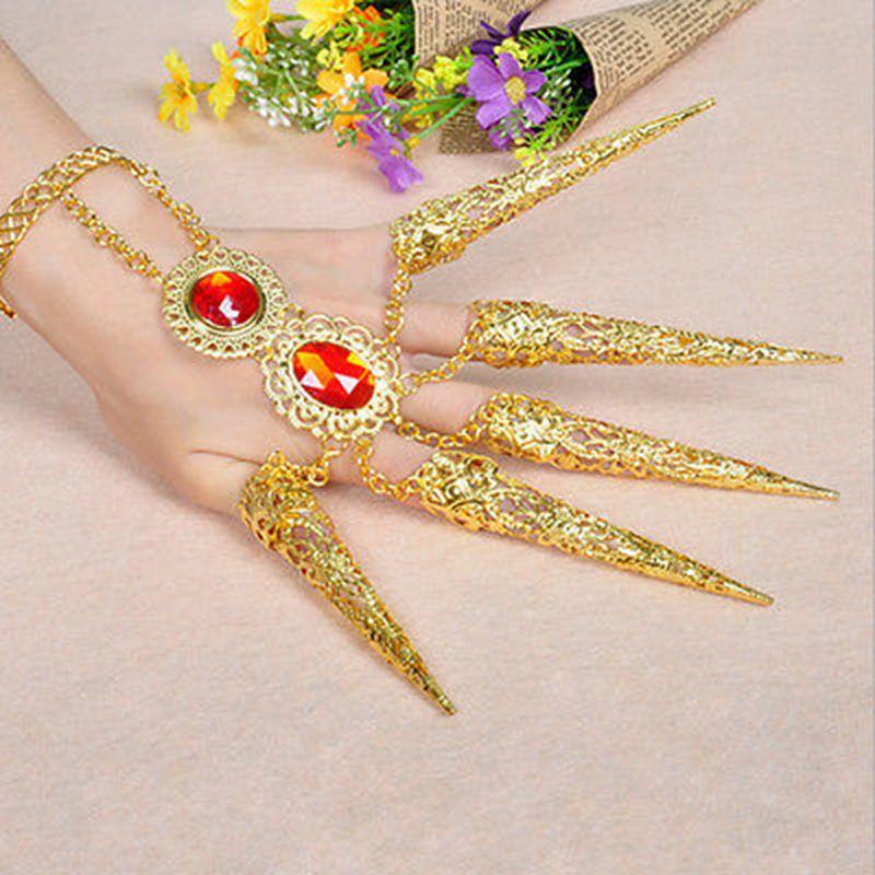 1/2pc indyjska tajska złoty palec biżuteria dla taniec brzucha taniec palec, że nie zajmują dodatkowego łóżka kostium