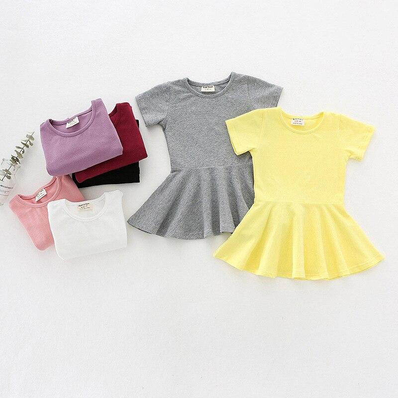 Novedad de verano, vestido de algodón para niñas pequeñas, elegante, Color caramelo, minivestido para niñas pequeñas de 12M a 5 años