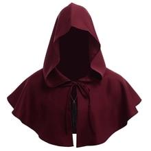 Men Costume Medieval Renaissance Hood Polyester Capelet LARP Mantle Hat Cosplay