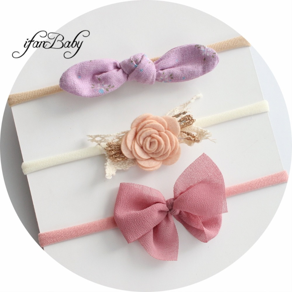 3 unids/set de diadema para niñas, lazo de gasa/Flor de tela desgastada en diadema de nailon, Orejas de conejo, accesorios para el cabello, diadema de flores