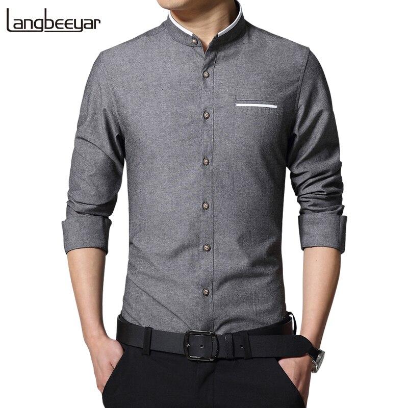 Nueva moda Casual Camisa manga larga para hombre mandarín Collar Slim Fit camisa de los hombres de Corea negocios camisas de vestir para hombre hombres ropa M-5XL