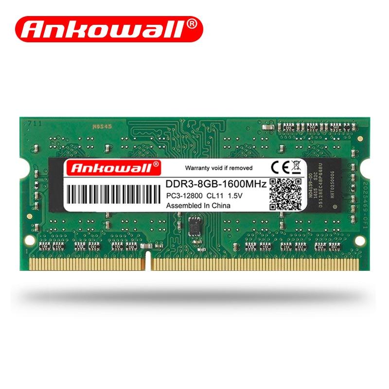 Ankomall marca ddr3 ram 8GB 4GB 2GB portátil memoria Notebook ddr3l SO-DIMM 1066 1600 1333mhz 204pin 1,35/1,5 V garantía de por vida