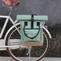 Tourbon Vintage Bicycle Bag Retro Bike Pannier Bags Cycling Rear Pack Seat Leisure Crossbody Shoulder Laptop Bag City Backpack