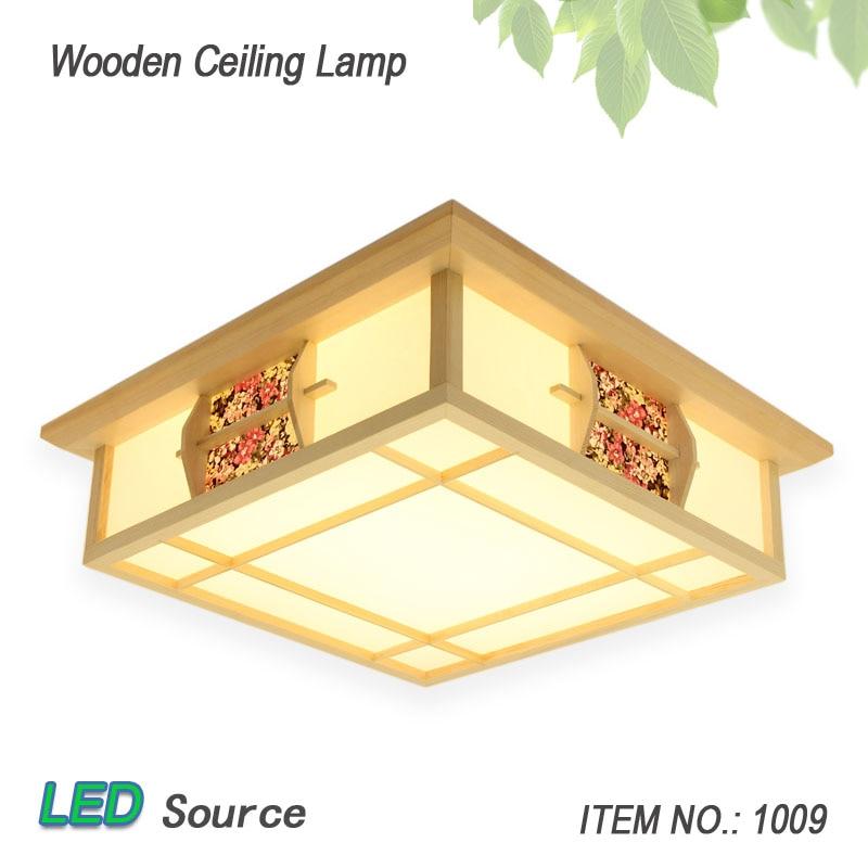 النمط الياباني تاتامي الخشب السقف و Pinus Sylvestris LED مصباح اللون الطبيعي مربع شبكة ورقة السقف تجهيزات الإضاءة 1009
