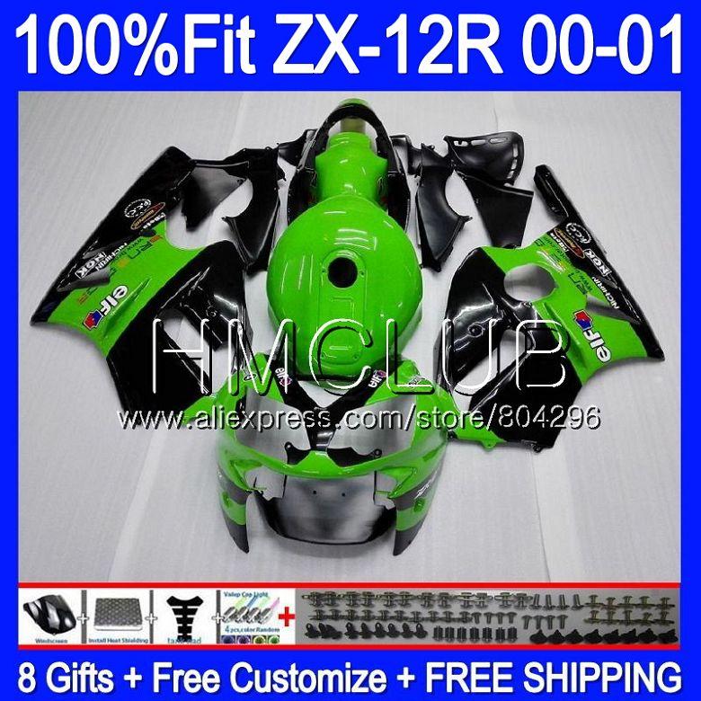 Injection For KAWASAKI NINJA ZX1200 C ZX 12R 00 01 47HM.5 ZX 12 R 1200CC ZX12R 00 01 ZX-12R 2000 2001 Stock green Fairing kit
