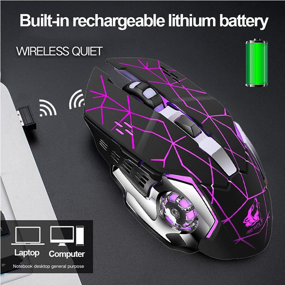 EPULA 2020 nueva 2400DPI ratón recargable X8 inalámbrico silencioso retroiluminado con LED USB ratón óptico ergonómico para juegos NY24