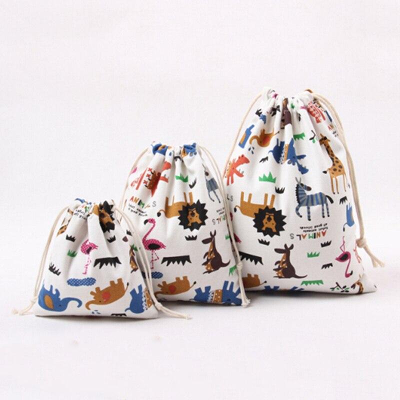 3 unids/set bolsa de lona bolsos para compras con cordón impresión animal amor de los niños dulces bolsas de regalo bolsita unisex Cluch