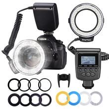 Neewer 48 Macro LED anneau Flash lumière écran LCD RF550D avec quatre diffuseurs 8 anneaux adaptateur pour Nikon Canon Panasonic Pentax