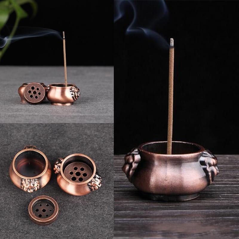 1pcs Mini Holes Pure Copper Incense Burner Holder Plate Stick Cones Home Decoration Incense Burner Home Deco for Buddhist Temple