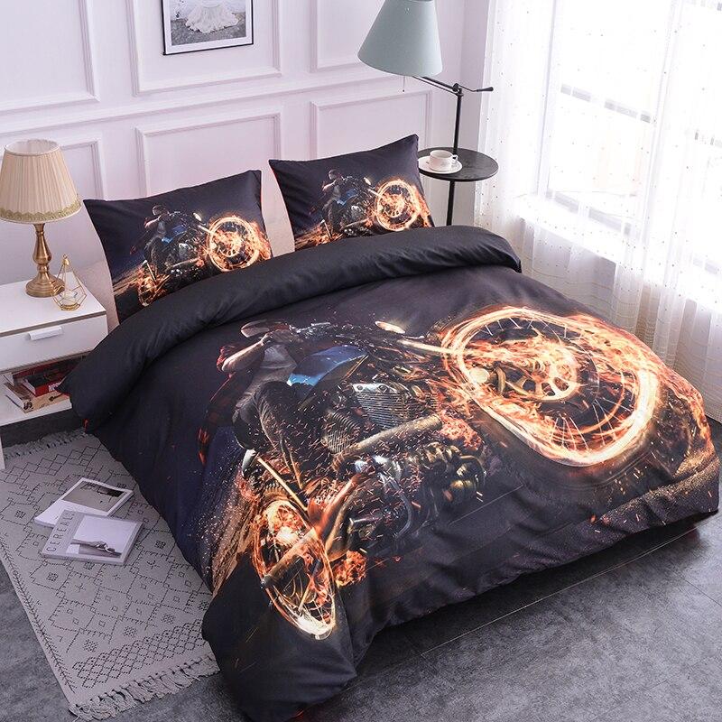 ZEIMON 3D Fashion Bedding Set Queen Size Motorcycle Design Printing Duvet Cover Set With Pillowcase Bedclothes Home Decor