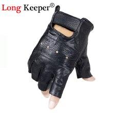 Long gardien hommes gants en cuir véritable demi-doigt en cuir de mouton gants sans doigts escalade anti-dérapant Fitness entraînement