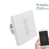 Tuya APP EU commutateur de rideau tactile pour obturateur rideau avec moteur a courant alternatif Wifi App telecommande travail avec Google Home Alexa Echo