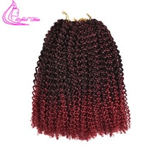 Refined Hair 8 10 12 Short Marlybob Kinky Curly Twist Crochet Brads 24Strands Afro Crochet Braid Braiding Hair Extensions